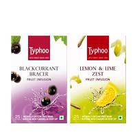 Typhoo Blackcurrant Bracer & Lemon & Lime Zest Fruit Infusions pack (25 ...