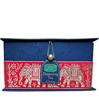 Bagan Darjeeling Tea Gift Box - Black Paper, Red Elephant Zari Lace (25 ...