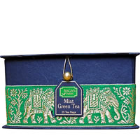 Bagan Mint Green Tea Gift Box - Black Paper, Green Elephant Zari Lace (25 ...
