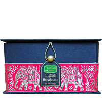 Bagan English Breakfast Tea Gift Box - Black Paper, Pink Paisley Zari Lace ...