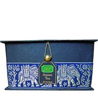 Bagan Assam Tea Gift Box - Black Paper, Navy Blue Elephant Zari Lace (25 ...