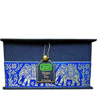 Bagan Nilgiri Tea Gift Box - Black Paper, Royal Blue Elephant Zari Lace ...