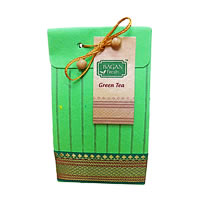Bagan Green Tea Gift Pack - Light Green Paper with Zari Lace, 100 gm