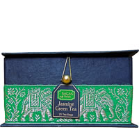 Bagan Jasmine Green Tea Gift Box - Black Paper, Green Elephant Zari Lace ...
