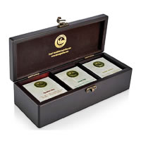 Dancing Leaf 3-Partition Wooden Box - Assorted Tea Gift Chest (18 Pyramid ...