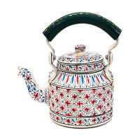 Kaushalam Hand-Painted Tea Kettle, Small - White and Green