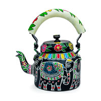 Kaushalam Hand-Painted Tea Kettle, Large - White Elephant