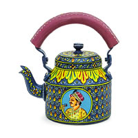 Kaushalam Hand-Painted Tea Kettle, Large - Raja and Rani, Blue