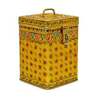 Kaushalam Hand-Painted Cookie Canister - Yellow