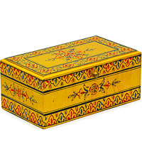 Kaushalam Hand-Painted Tea Box - Golden