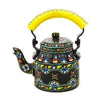 Kaushalam Hand-Painted Tea Kettle, Small - Black and Yellow