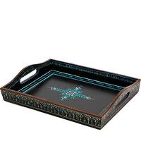 Kaushalam Hand-Painted Wooden Tray, Large - Black