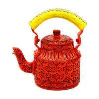 Kaushalam Hand-Painted Tea Kettle, Small - Orange