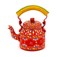 Kaushalam Hand-Painted Tea Kettle, Small - Orange and Yellow