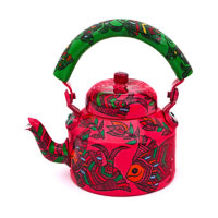 Kaushalam Hand-Painted Tea Kettle, Large - Pink and Green