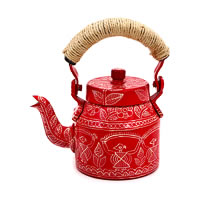 Kaushalam Hand-Painted Tea Kettle, Small - Red