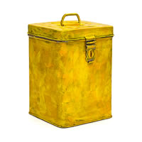 Kaushalam Hand-Painted Cookie Canister - Brush Strokes, Yellow