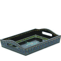 Kaushalam Hand-Painted Wooden Tray, Small - Black
