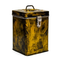 Kaushalam Hand-Painted Cookie Canister - Brush Strokes, Black and Gold