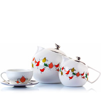 Arttdinox Bird Range White Ceramic Tea Set