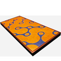Amalgam Hand-carved Scooping Motif Stone Platter - Orange & Blue