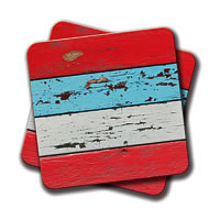 Amey Multicolorcolored Wooden Planks Coasters - set of 2