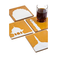 Amalgam Hand-carved Architecture Holic Motif Stone Square Coasters - set of 4
