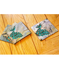Amalgam The Dandy Peacock Coasters (Turqoise) - set of 4