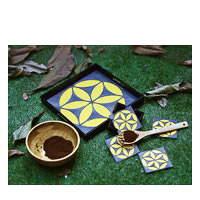 Amalgam Circling Coterie Square Tray - Yellow