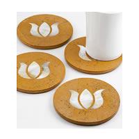 Amalgam Hand-carved Pure and Precious Lotus Motif Stone Round Coasters - ...