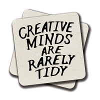 Amey Creative Minds are Rarely Tidy Coasters - set of 2