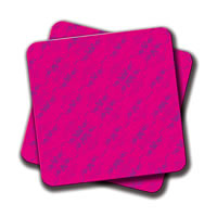 Amey Hipster Purple Skulls Pattern Vector Neon Pink Coasters - set of 2