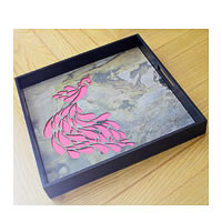 Amalgam The Dandy Peacock Square Tray - Pink