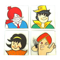 ScrapShala Hand-Painted Indian Comic Characters Glass Coasters - set of 4