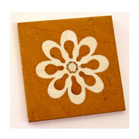 Amalgam Hand-carved Flowering Collection Motif Stone Square Coasters - set ...