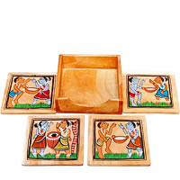ARMS Wooden Hand-Painted Tribal Patachitra Coasters - set of 5