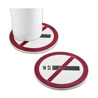 Amalgam Hand-crafted No-Smoking White Marble Coasters - set of 4