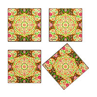 Kolorobia Mesmerizing Mughal Glass Coasters - set of 4