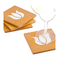 Amalgam Hand-carved Virtuous Lotus Motif Stone Square Coasters - set of 4