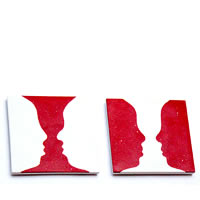Amalgam Hand-crafted Illusion in Inlay White Marble Coasters - set of 4