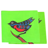 ScrapShala Hand-Painted Ethnic Bird Theme Glass Coasters - set of 2