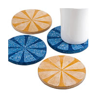 Amalgam Hand-carved Scratched and Scraped Petal Stone Coasters (Yellow, ...