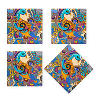 Kolorobia Colorful Peacock Wooden Coasters - set of 4