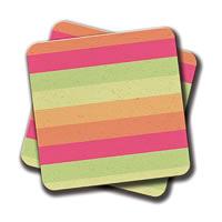 Amey Pastel Orange Pink Green Stripes Summer Pattern Coasters - set of 2
