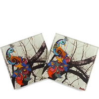 Kolorobia Unique Peacock Wooden Coasters - set of 4