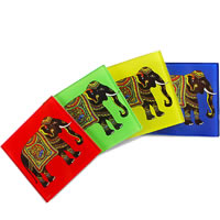 Kolorobia Silhouette of Elephant Glass Coasters - set of 4