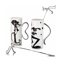 Arttdinox Moody White Ceramic Mug and Stirrer - set of 2