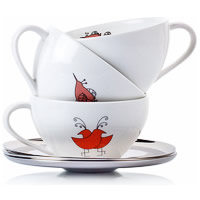Arttdinox Bird Range White Ceramic Cup and Saucer - set of 4