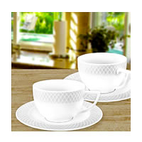 Wilmax ENGLAND Fine Porcelain Julia Cappuccino Cup, 170 ml and Saucer ...
