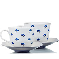 Arttdinox Blueberry Cup and Saucer, Small - set of 2